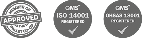 Member of Pallet Co-op, Registered QMS ISO 14001, Registered QMS OHSAS 18001
