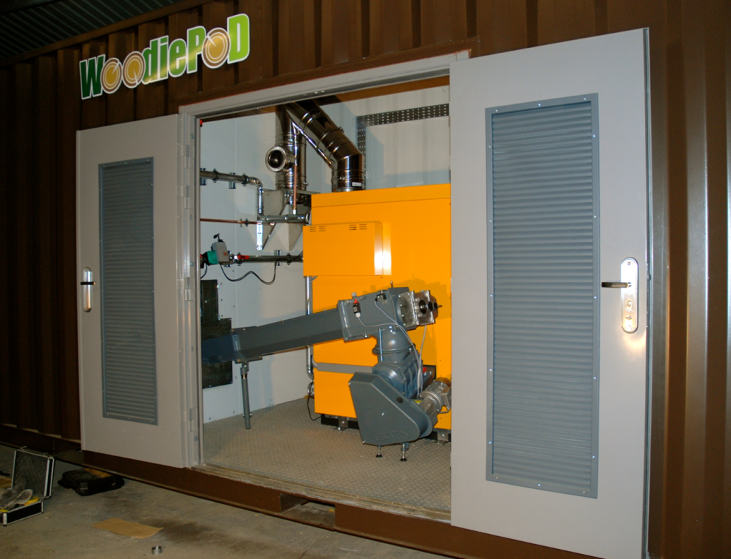 RPS biomass wood waste and heat energy power generation recovery from reusable pallets burned and heat offices workshop and radiators